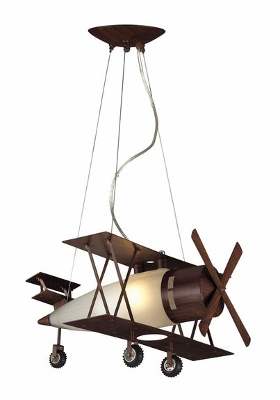 Biplane Fighter Pendant in Walnut Finish - how cute would this be in my boy's bedroom?
