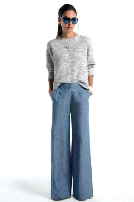 grey sweater and wide leg jeans