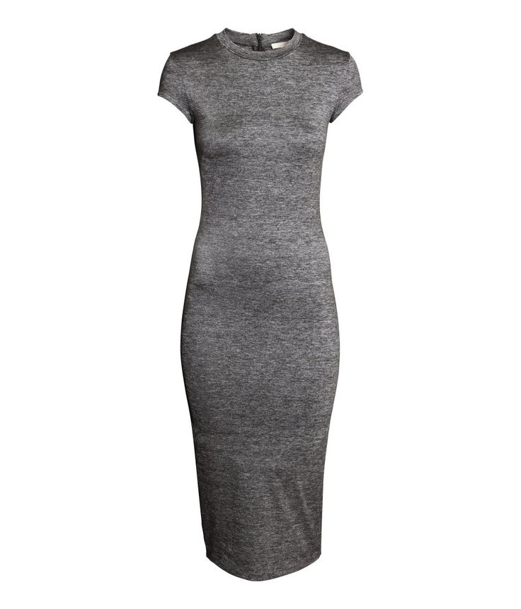 Glossy gray fitted dress with stand-up collar, cap sleeves, and slit. | Party in H&M