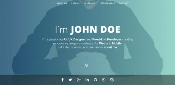 Intima is a minimalist, elegant and responsive resume html5 template for any kind of professionals to show their Resume (Education, Work Experience, Awards etc.) and Portfolio in a wonderful wa...