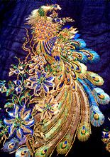 2015 gaas kledingstuk accessoires nieuwe geborduurde trouwjurk een- stuk jurk pauw appliques patches(China (Mainland))