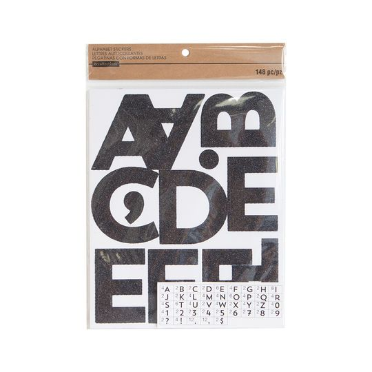 Black Glitter Large Alphabet Stickers By Recollections