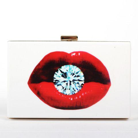 Горячие продажи Женские Сумки Дизайнер Розовые Губы Diamond poker Сумки Сцепления Белый Акрил Сцепления Ladys Сумки Кошелек сумка