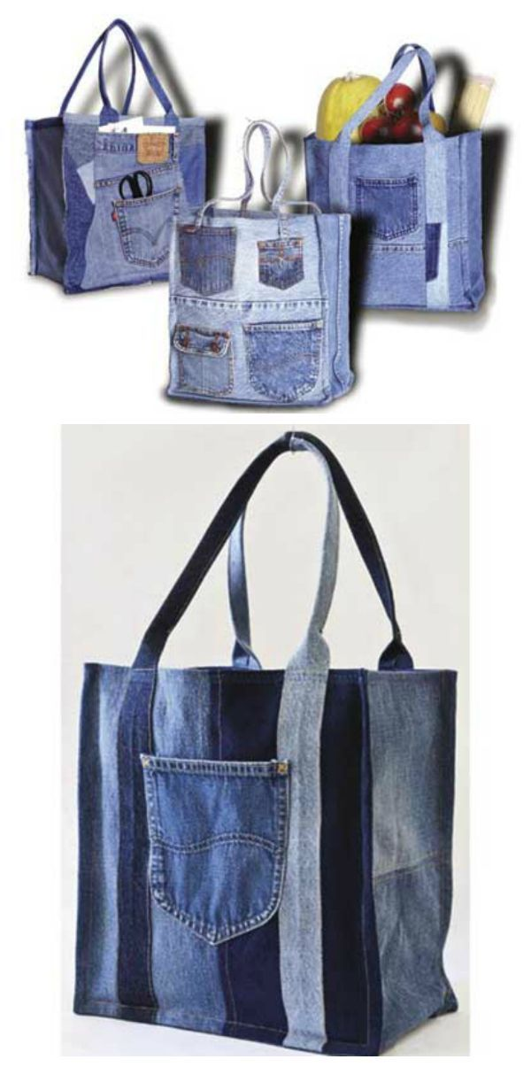 """Double Green Shopping Bag Sewing Pattern. Just think - every time you use this bag you will know that there are two fewer pairs of jeans and thousands fewer plastic bags in a landfill. The Double Green Shopping Bag is so much fun to create; it makes a great excuse for a party. Invite your friends to bring their old jeans and get together for a Double Green sewing bash! Finished sizes are 11 1/2""""W x 12 1/2""""T or 12 1/2""""W x 13 1/2""""T. #handmadebag"""