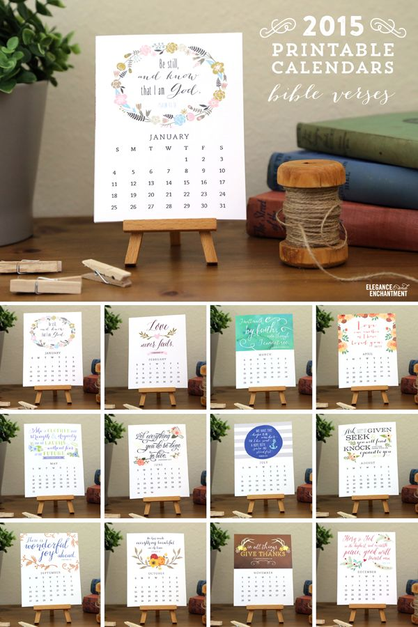 2015 Desk Calendar Printables – Vote for your favorite to be shared as a free printable in December // from Elegance & Enchantment