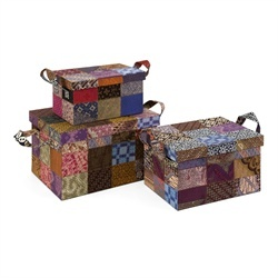 Indonesian Artisan Quilted Batik Decorative Storage Boxes with Handles