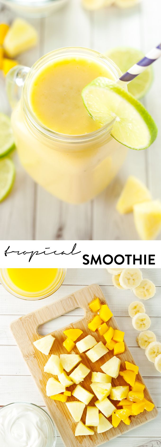 Tropical Smoothie Recipe - via @asimplepantry. Bring on the summertime flavors no matter the season with this festive smoothie using Del Monte Diced Mangos.