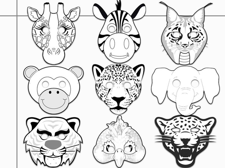 Jungle Animals Printable Coloring Masks Jaguar Tiger Etsy Animal Coloring Pages Coloring Mask Printable Coloring Masks