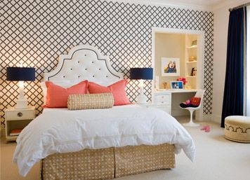 fresh: Decor, Ideas, Teen Girls Rooms, Headboards, Colors, House, Bedrooms, Desks Nooks, Accent Wall