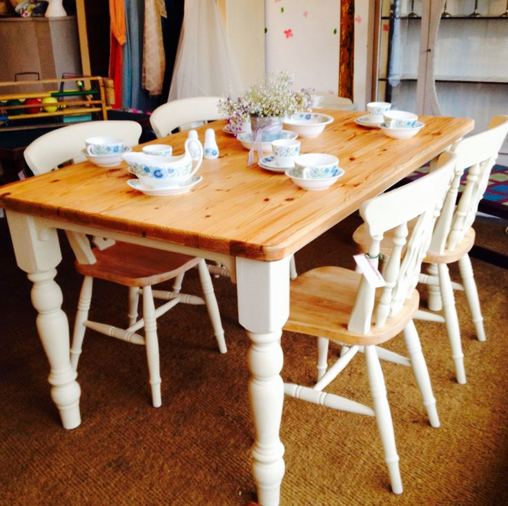 Farmhouse Pine Table And Four Chairs Painted In Annie Sloan. My Dream Table  And Chairs 😍😍😍