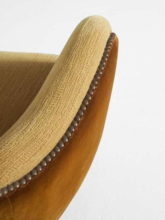 Danish Curved Sofa in Yellow and Brown Velours 4