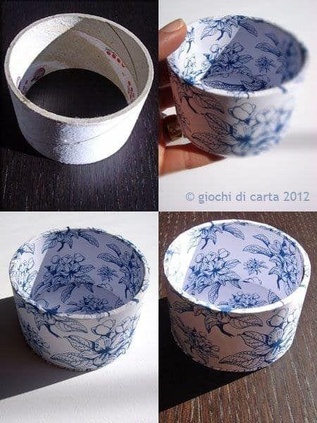 A fita adesiva acabou? Arrume um pedaço de papelão e tampe o fundo, criando um pequeno potinho. Depois é só revestir com guardanapos de papel estampados.
