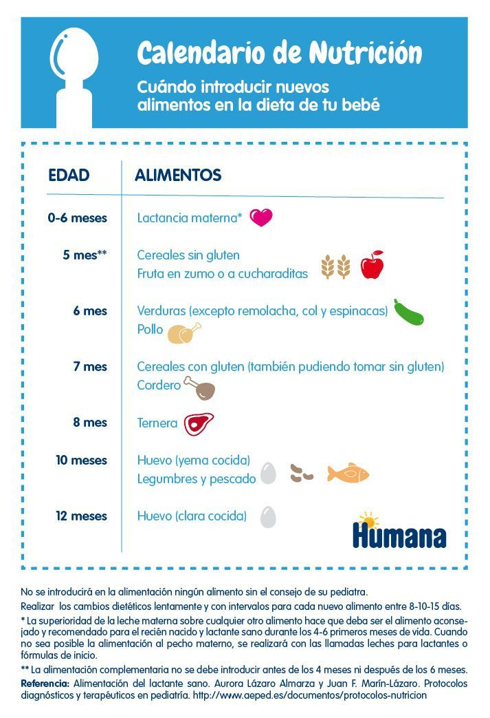 Calendario Nutricional Cuando Introducir Alimentos En La Dieta