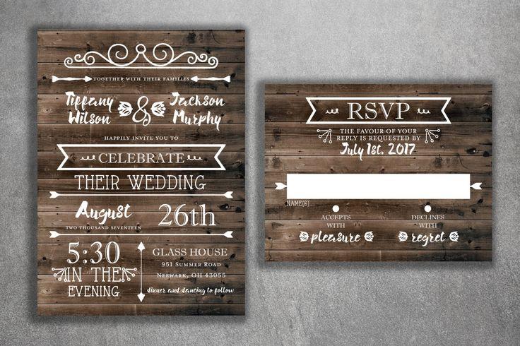 Country Wedding Invitations Set Printed - Rustic Wedding Invitations, Burlap…