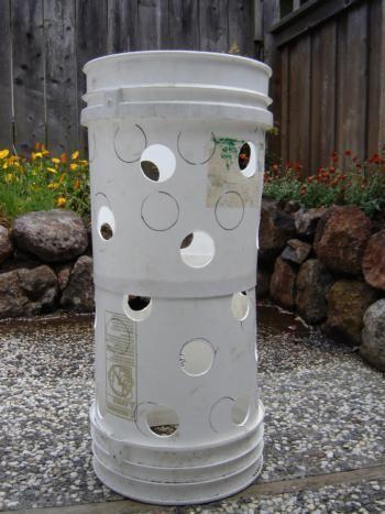 Strawberry tower using 2 5-gallon buckets!