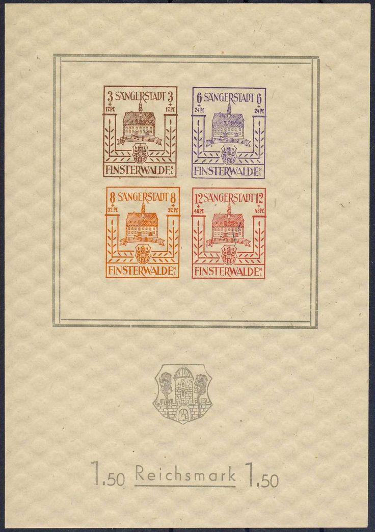 German Local Issue, Finsterwalde 1945, Wiederaufbaublock, postfr. Pracht (postfr., Mi.-Nr.Bl.1/Mi.EUR 80,--). Price Estimate (8/2016): 25 EUR.