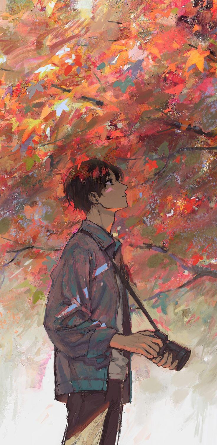 Anime boy autumn tree artwork 1440x2960 wallpaper from
