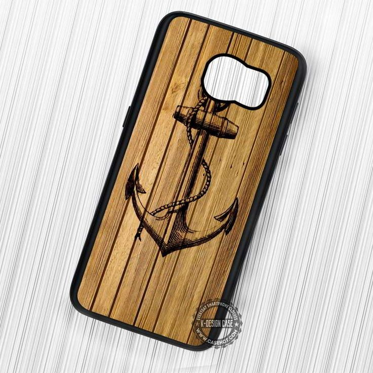 Anchor in Wood Style Nautical - Samsung Galaxy S7 S6 S5 Note 7 Cases & Covers