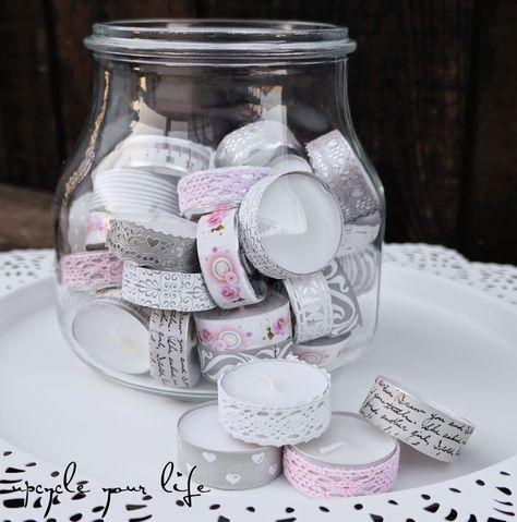 teelichter im glas... aufgehübscht mit washitape, schleifenband & papierstreifen...