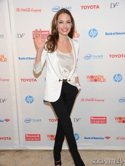 Angelina Jolie White Blazer Black Pants Women In The World Summit