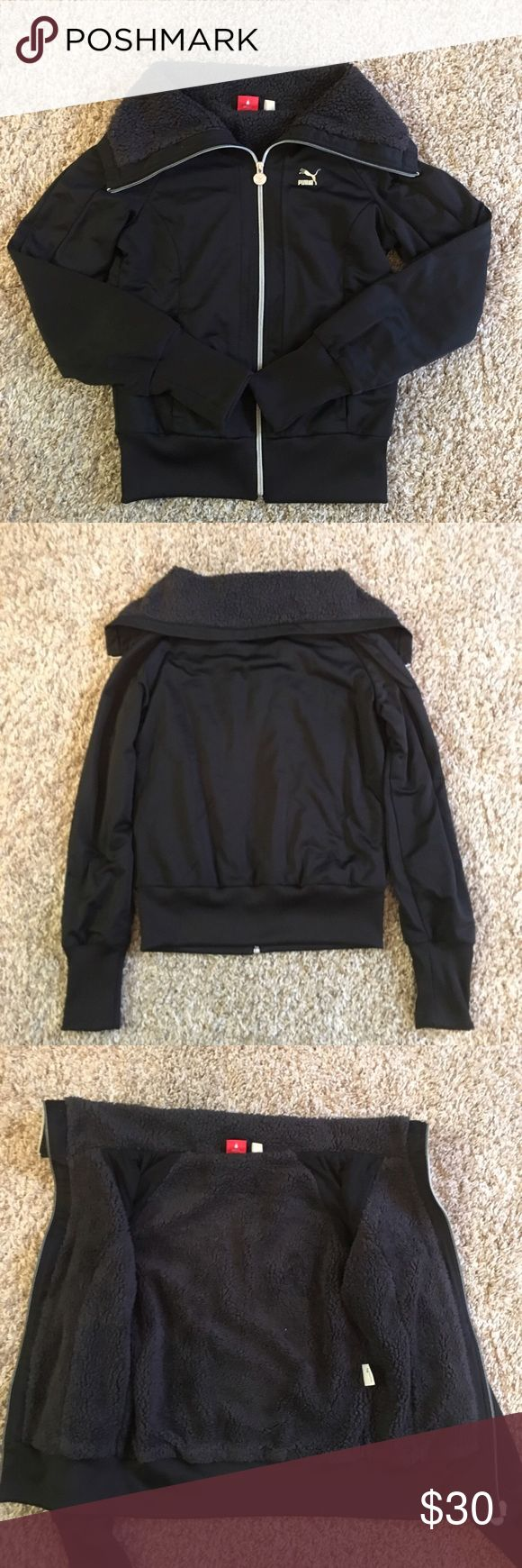 Black Fuzzy Puma Jacket vguc black zip up puma jacket with fuzzy interior. super warm and soft. perfect for cooler months Puma Jackets & Coats