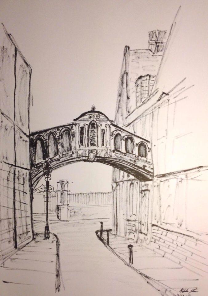 Oxford Bridge in ink By: Mischa Stæhr