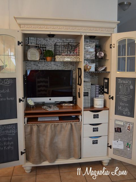 My Decorated and Organized Computer Armoire/Workstation - Best 25+ Computer Armoire Ideas On Pinterest Craft Armoire