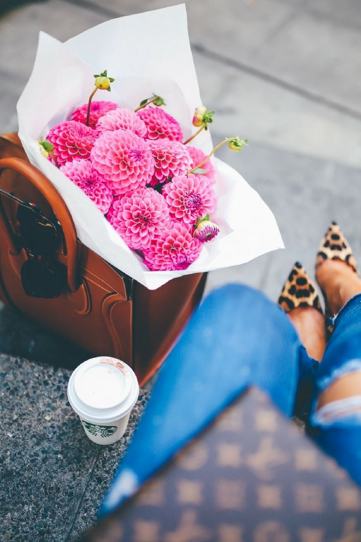 SWEATER: BP ($55 – exact dupe for a designer one!) | DENIM: AG Jeans (my FAVES!) | HEELS: Christian Louboutin (So Kate) (similar styles HERE & HERE) | SUNGLASSES: Gucci | HANDBAG: Celine (Mini Luggage) (similar Tory Burch style ON SALE) | Fashion Blogger, Emily Gemma Outfit. Pink Flowers.