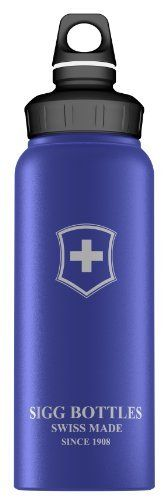SIGG 1 Litre Aluminum Bottle (Swiss Cross Dark Blue) by Sigg. $15.01. A safe, stylish alternative to plastic water bottles, Sigg water bottles are a great choice for transporting beverages on your daily commute or while backcountry hiking. This ultra-lightweight bottle is extruded from a single piece of aluminum and holds 1 liter of fluid (33.8 ounces). Designed to fit your on-the-go lifestyle, it comes with a loop top bottle cap, which can be secured via hook or caribiner cli...