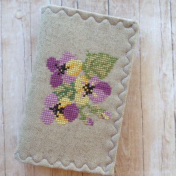 Flowers Junk Journal. Cross stitched cover. Handmade.