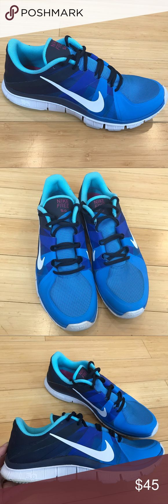 NIKE Free Trainer 5.0, blue. Mens 10.5. Men's Nike free trainer 5.0, size 10.5. Pre-loved but in excellent condition. Uppers look brand new, insides totally clean, bottom soles a little dirty. Blue. Nike Shoes Sneakers