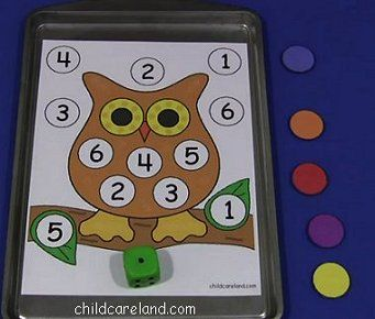Owl Roll The Dice ... children roll the dice and cover up the number on the owl mat.