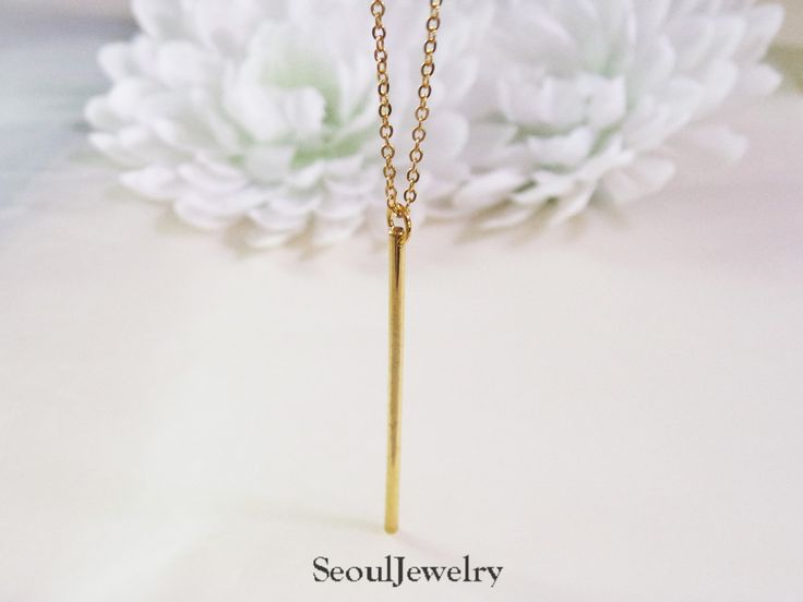 Vertical Round Bar Necklace, Choice of Chain Length, Layering Necklace by SeoulJewelry on Etsy