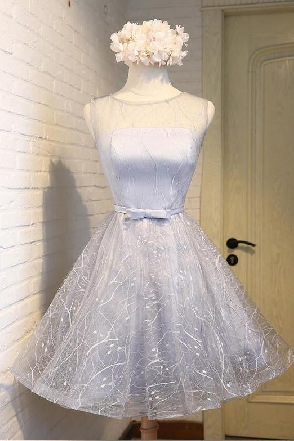 Hot Sale Great Homecoming Dresses Short Gray Round Neck Tulle Short Prom Dress Gray Homecoming Dress