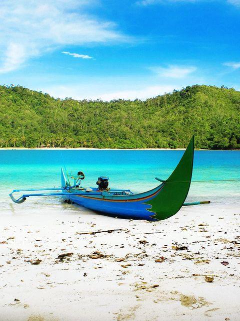 Jukung at Kiluan Island, Lampung.