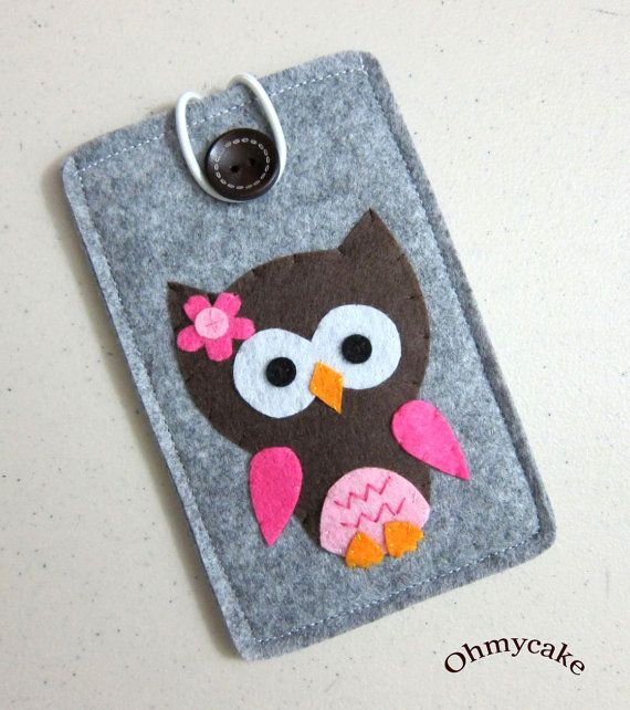 "Handmade iPhone Felt Case - "" Kawaii Owl "" Design"