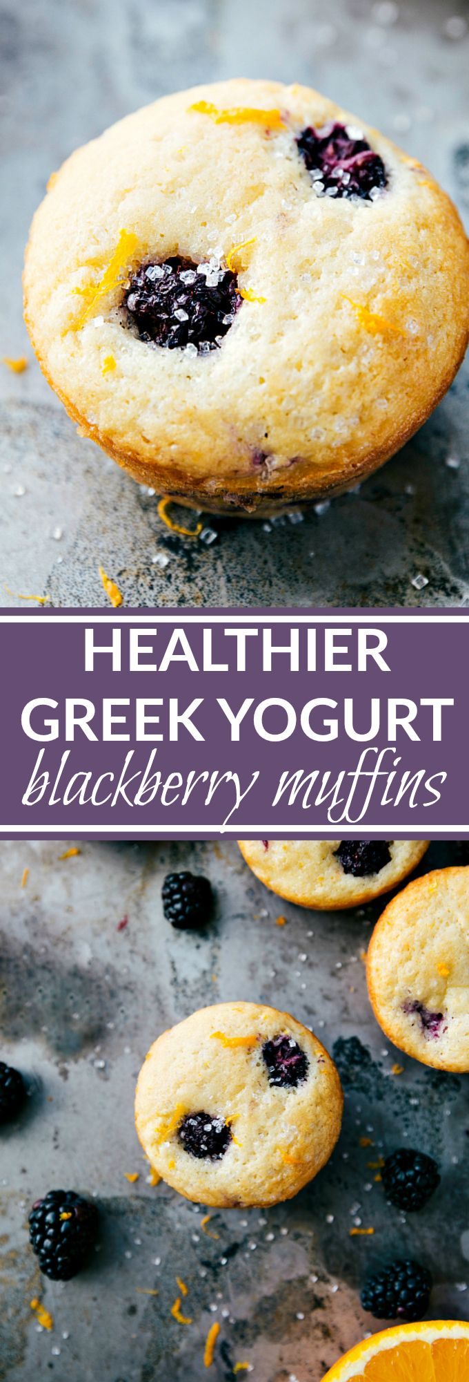 GREEK YOGURT BLACKBERRY MUFFINS! A healthier version of blackberry muffins with a hint of orange flavor. Lower sugar, added Greek yogurt, no butter, healthier oils, and all with NO sacrifice of flavor!