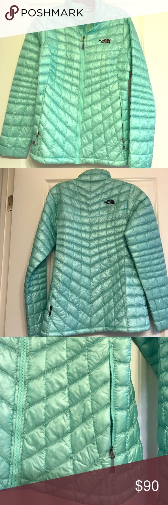 North Face Thermoball jacket Mint green, flawless jacket! Size M! Only worn 1-2x. Side zip pockets. North Face logo on front and back. North Face Jackets & Coats Puffers
