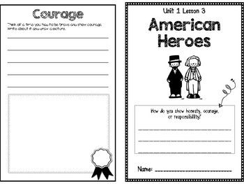 Unit 1 Lesson 3: American Heroes Social Studies Activity Booklet (McGraw Hill- Community and Beyond)