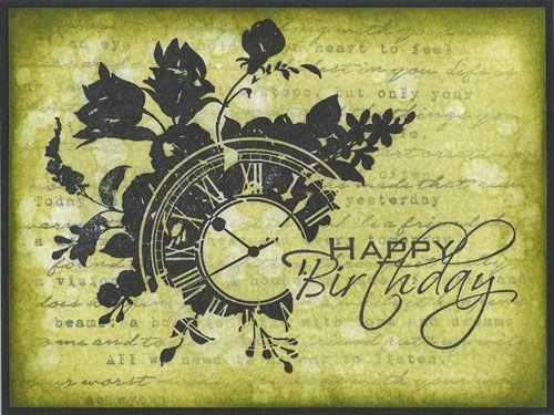 Stamp-it Australia: siset105 Clock, siset92 Wording, 2024D Happy Birthday - Card by Ursula