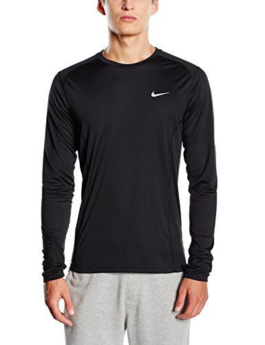 Nike Miler T-Shirt manches longues Homme Black/Reflective Silver FR : S (