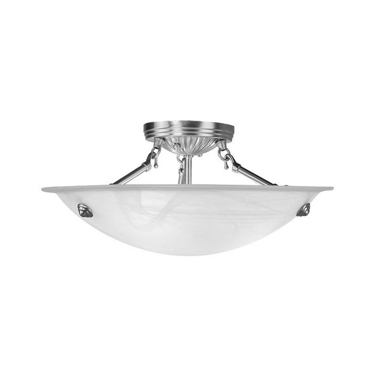 Livex Lighting Oasis 16-in W Brushed Nickel Alabaster Glass Semi-Flush Mount Light