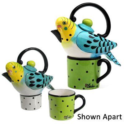 Blue parakeet tea setTeas Time, Parakeets Teas, Teapots Bab, Teas Pots, Things Teas, Teas Sets, Dots, Birds, Teas Parties