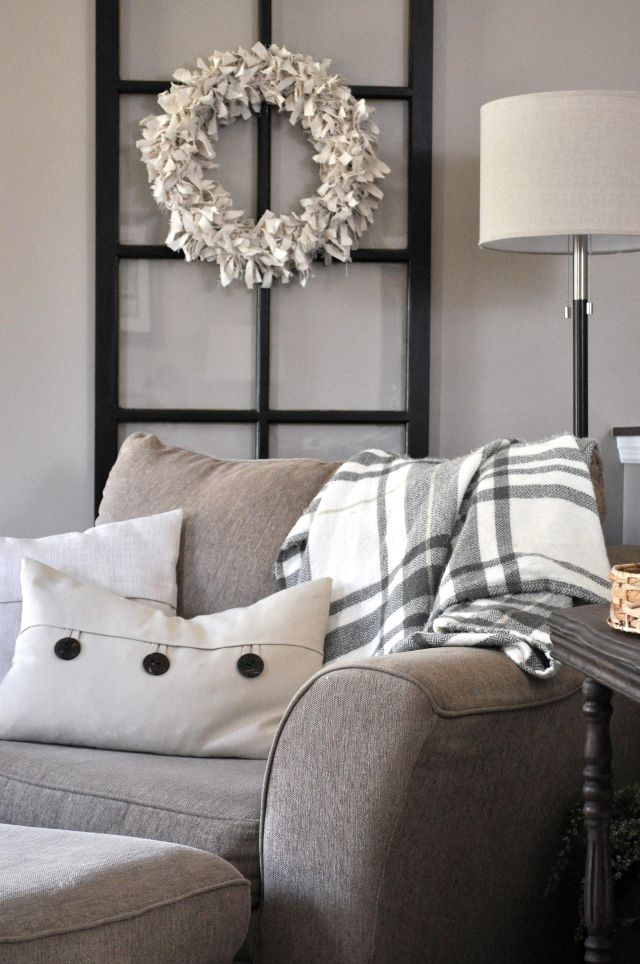 Perfect Farmhouse Fall Tour Of Homes 2015. Beige PillowsBeige CouchNavy SofaThrow  PillowsCouches Living RoomsDining Room ...