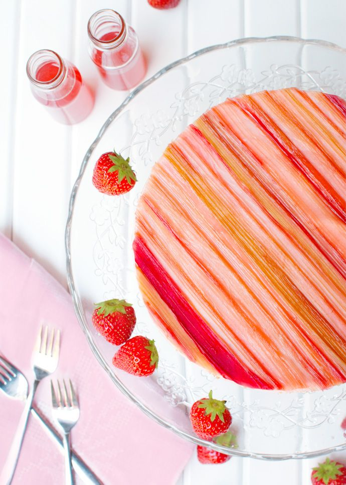 The Tough Cookie   Strawberry Mousse Cake with Candied Rhubarb   http://thetoughcookie.com