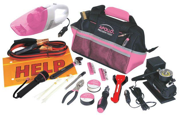 54 Piece Roadside Tool Kit With Air Compressor and Car Vacuum Cleaner - Pink