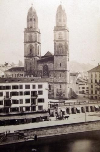 c 1855 Grossmünster Zürich Limmat - very rare early albumen cdv by J Schneebeli…