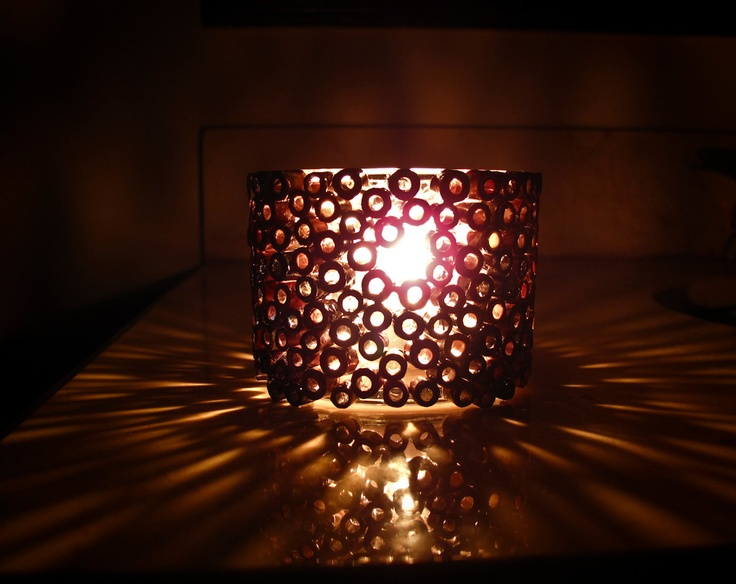 Votive Candle Holder - Brown Candle Holder Made with Recycled Magazines. $18.00, via Etsy.