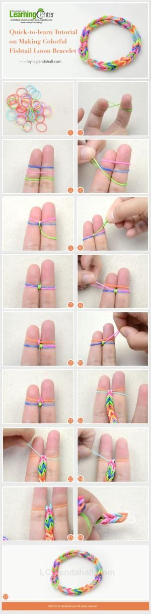 Quick-to-learn Tutorial on Making Colorful Fishtail Loom Bracelet by wanting