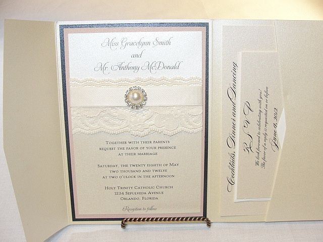 Lace Wedding Invitation, Lace Wedding Invite, Lace Invite, Lace Invitation, Pearl Invitation,  Pearl Wedding Invite, AVA - POCKETFOLD by LavenderPaperie1 on Etsy